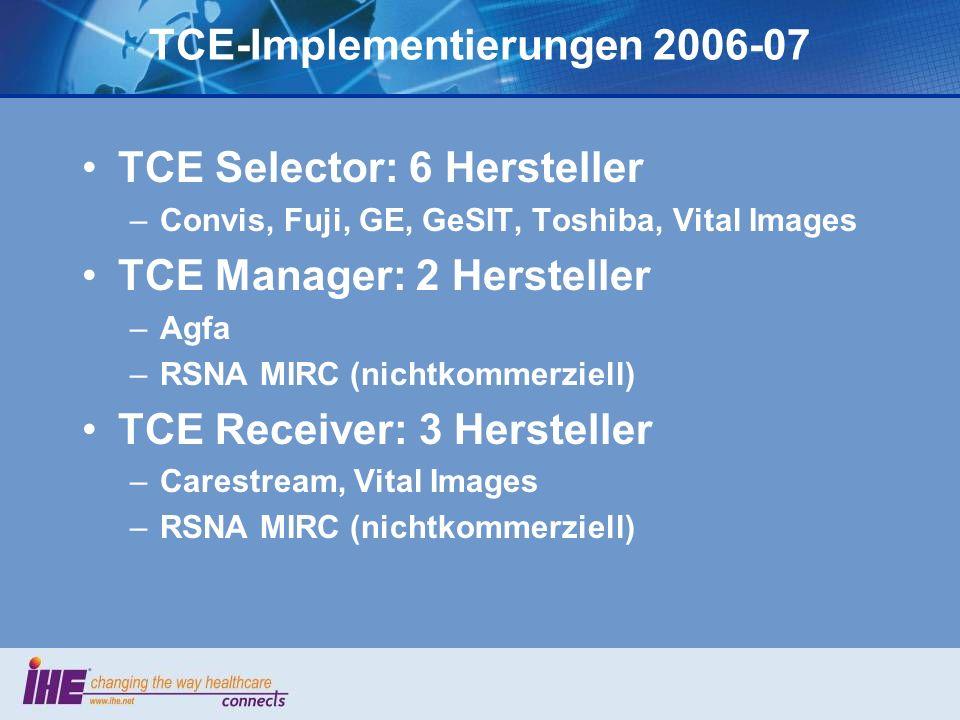 TCE in der Uniklinik Mainz Export Manager und Receiver (Fallarchiv): MIRC-System der RSNA Export Selector: Eigenentwicklung (GeSIT), die bestehende PACS-Workstations um TCE ergänzt –Separates Programm, das DICOM-Daten per Netzwerk entgegen- nimmt, Dialoge zur Verschlagwortung anbietet, Manifest erstellt usw.