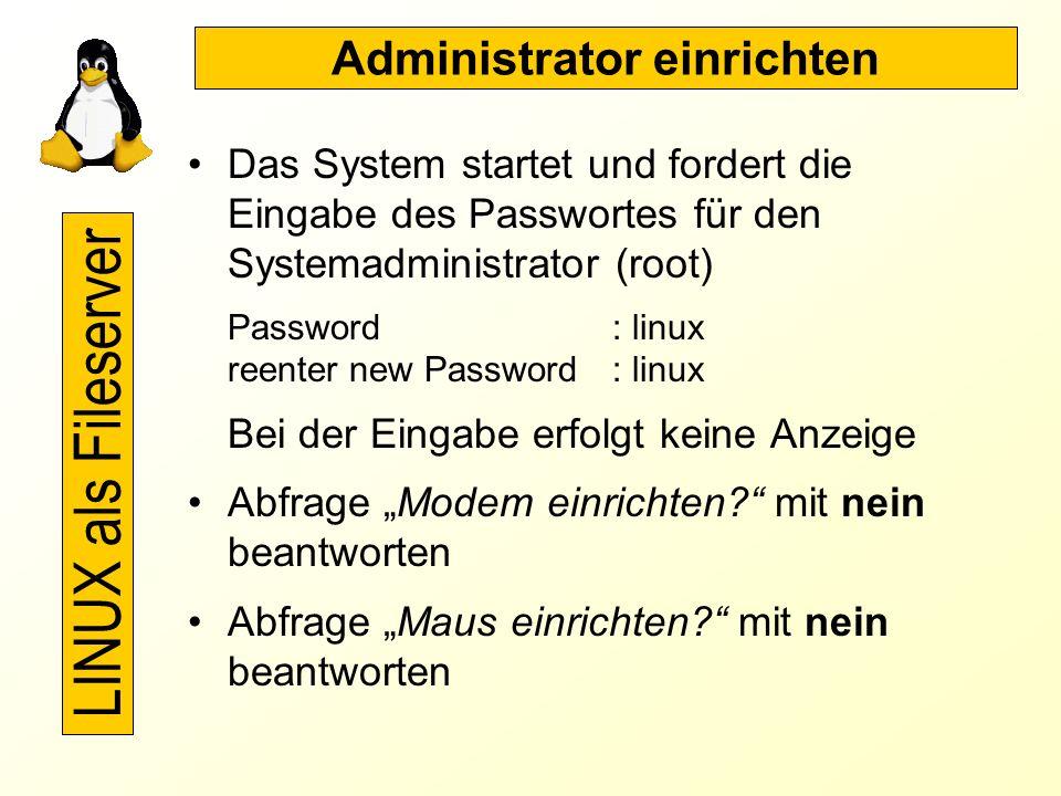 Netzwerksoftware konfigurieren (3) Formular bearbeiten: Typ : etho Art der Karte: 3com 3c509/3c579 Optionen: keine Eingabe 2x weiter beendet die Konfi