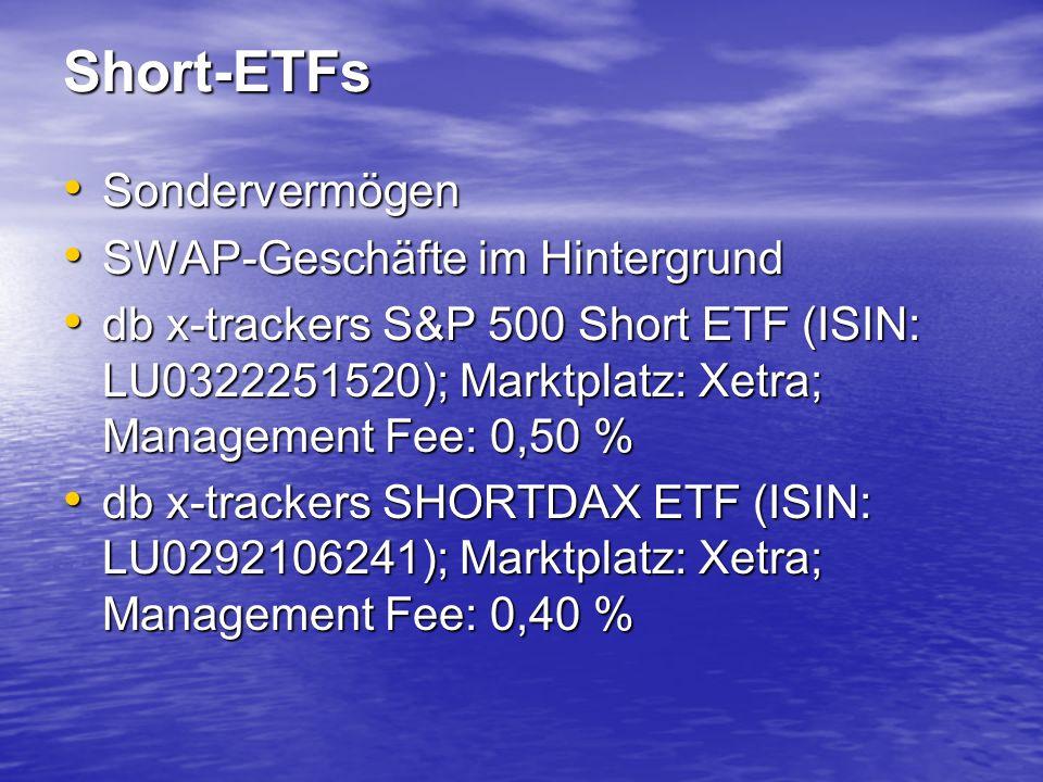 Short-ETFs Sondervermögen Sondervermögen SWAP-Geschäfte im Hintergrund SWAP-Geschäfte im Hintergrund db x-trackers S&P 500 Short ETF (ISIN: LU0322251520); Marktplatz: Xetra; Management Fee: 0,50 % db x-trackers S&P 500 Short ETF (ISIN: LU0322251520); Marktplatz: Xetra; Management Fee: 0,50 % db x-trackers SHORTDAX ETF (ISIN: LU0292106241); Marktplatz: Xetra; Management Fee: 0,40 % db x-trackers SHORTDAX ETF (ISIN: LU0292106241); Marktplatz: Xetra; Management Fee: 0,40 %