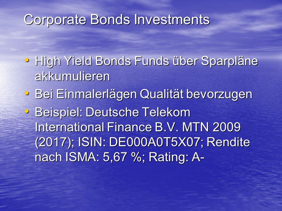 Corporate Bonds Investments High Yield Bonds Funds über Sparpläne akkumulieren High Yield Bonds Funds über Sparpläne akkumulieren Bei Einmalerlägen Qu