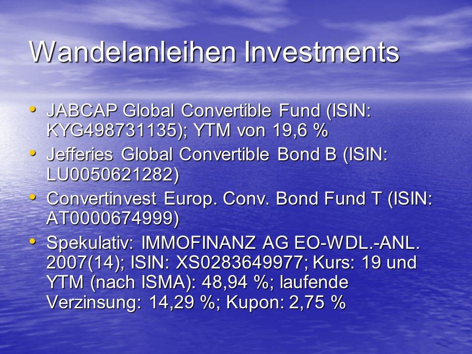 Wandelanleihen Investments JABCAP Global Convertible Fund (ISIN: KYG498731135); YTM von 19,6 % JABCAP Global Convertible Fund (ISIN: KYG498731135); YTM von 19,6 % Jefferies Global Convertible Bond B (ISIN: LU0050621282) Jefferies Global Convertible Bond B (ISIN: LU0050621282) Convertinvest Europ.