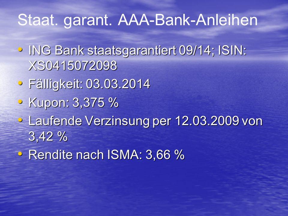 Staat. garant. AAA-Bank-Anleihen ING Bank staatsgarantiert 09/14; ISIN: XS0415072098 ING Bank staatsgarantiert 09/14; ISIN: XS0415072098 Fälligkeit: 0