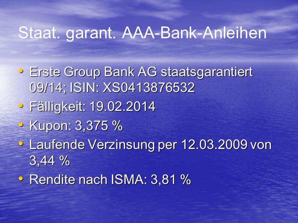 Staat. garant. AAA-Bank-Anleihen Erste Group Bank AG staatsgarantiert 09/14; ISIN: XS0413876532 Erste Group Bank AG staatsgarantiert 09/14; ISIN: XS04