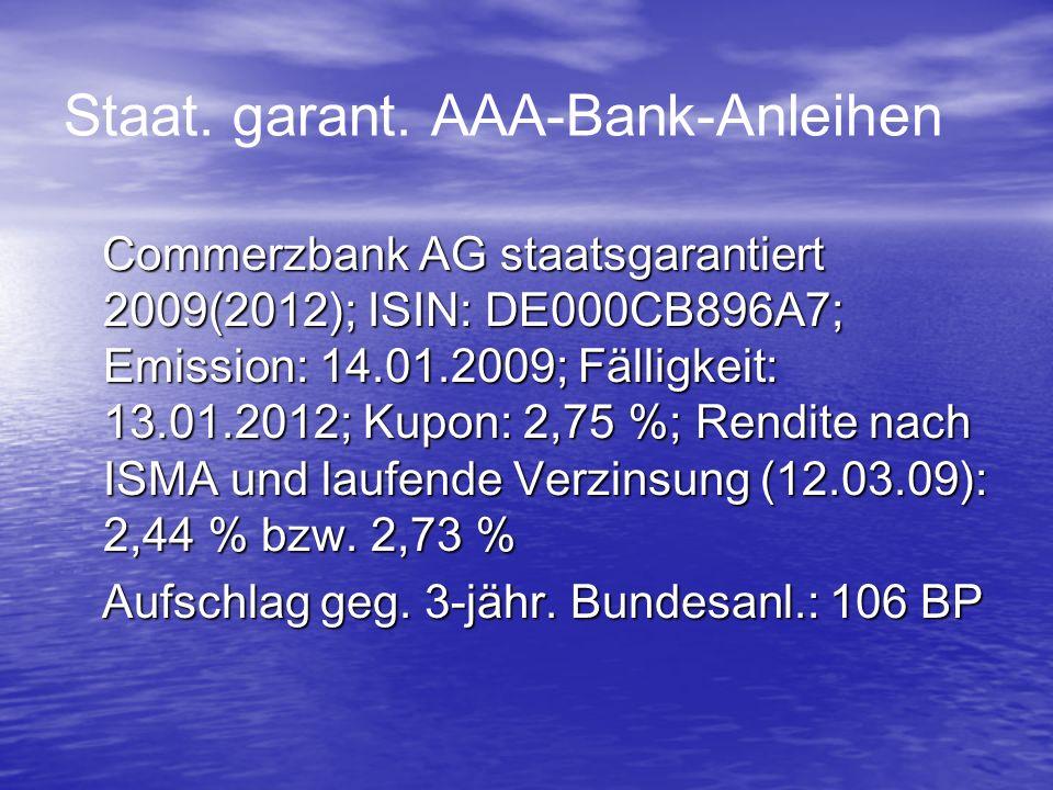 Staat. garant. AAA-Bank-Anleihen Commerzbank AG staatsgarantiert 2009(2012); ISIN: DE000CB896A7; Emission: 14.01.2009; Fälligkeit: 13.01.2012; Kupon: