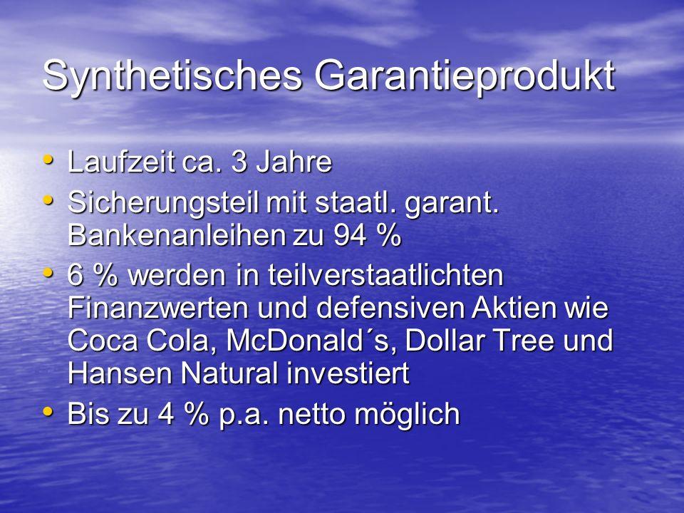 Synthetisches Garantieprodukt Laufzeit ca.3 Jahre Laufzeit ca.