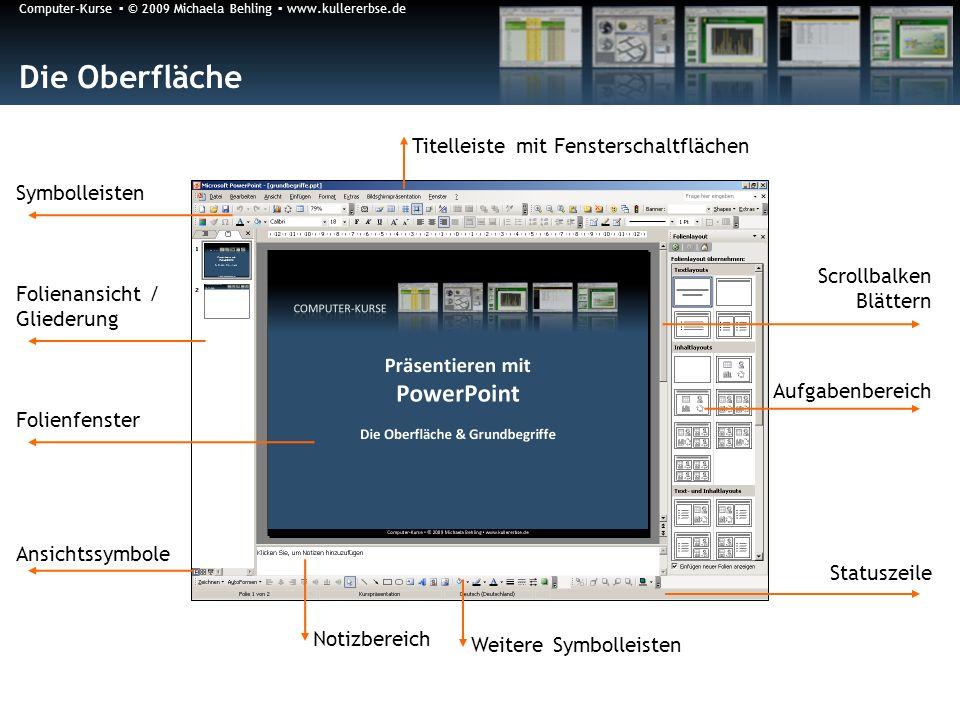 Computer-Kurse © 2009 Michaela Behling www.kullererbse.de Die Oberfläche Folienansicht / Gliederung Folienfenster Aufgabenbereich Notizbereich Symboll