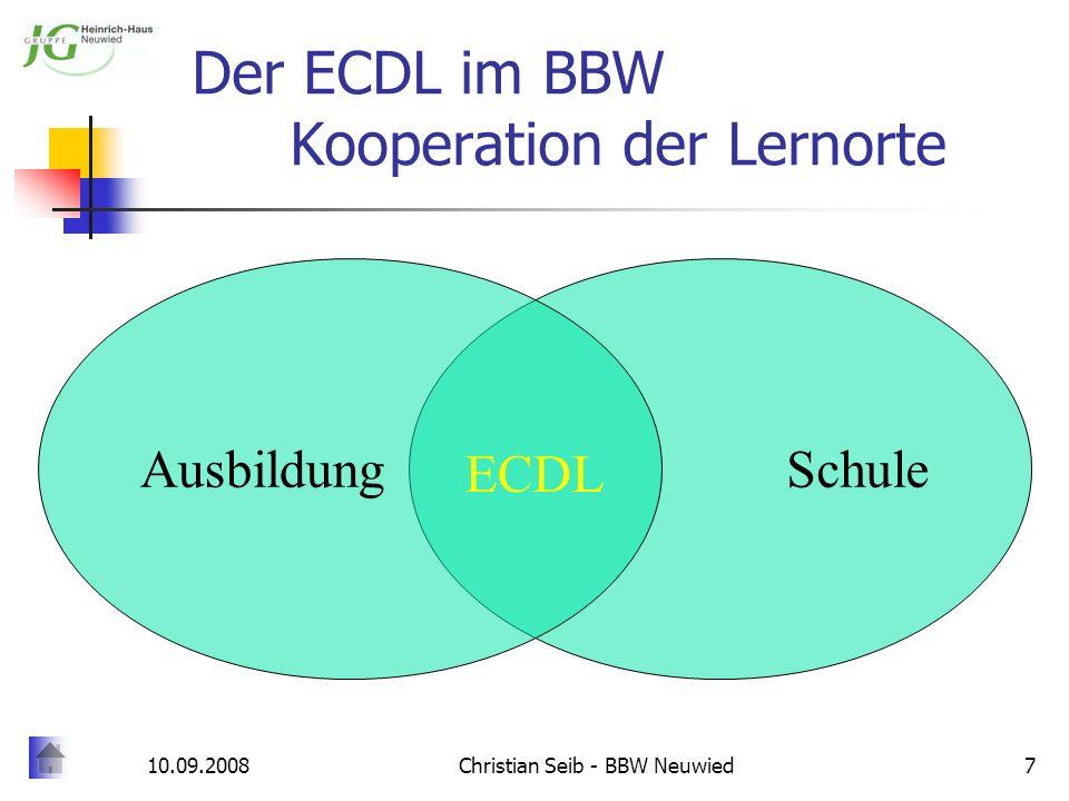 10.09.2008Christian Seib - BBW Neuwied7 Der ECDL im BBW Kooperation der Lernorte SchuleAusbildung ECDL