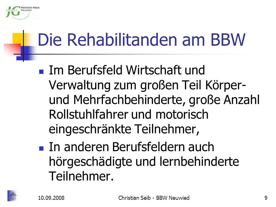 10.09.2008Christian Seib - BBW Neuwied10 Probleme und Bedürfnisse Rollstuhlfahrer: Arbeitsplatz muss angemessen eingerichtet sein.