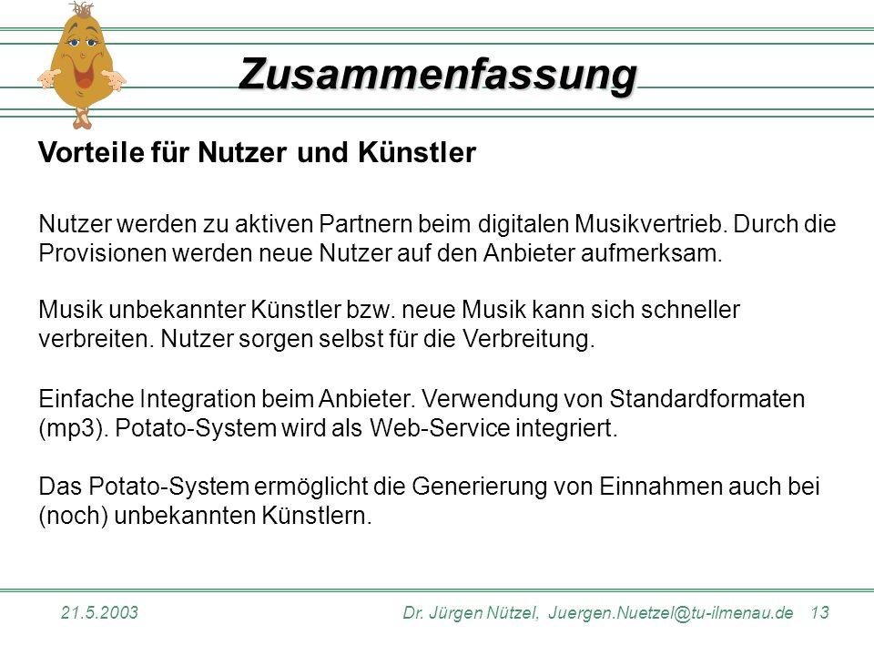 21.5.2003Dr. Jürgen Nützel, Juergen.Nuetzel@tu-ilmenau.de 13 ZusammenfassungZusammenfassung Vorteile für Nutzer und Künstler Nutzer werden zu aktiven