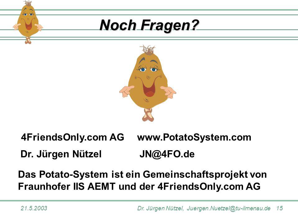 21.5.2003Dr. Jürgen Nützel, Juergen.Nuetzel@tu-ilmenau.de 15 Noch Fragen? 4FriendsOnly.com AGwww.PotatoSystem.com Dr. Jürgen Nützel JN@4FO.de Das Pota