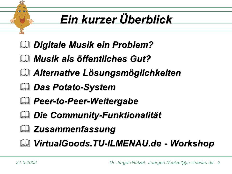 21.5.2003Dr. Jürgen Nützel, Juergen.Nuetzel@tu-ilmenau.de 2 Ein kurzer Überblick Digitale Musik ein Problem? Digitale Musik ein Problem? Musik als öff