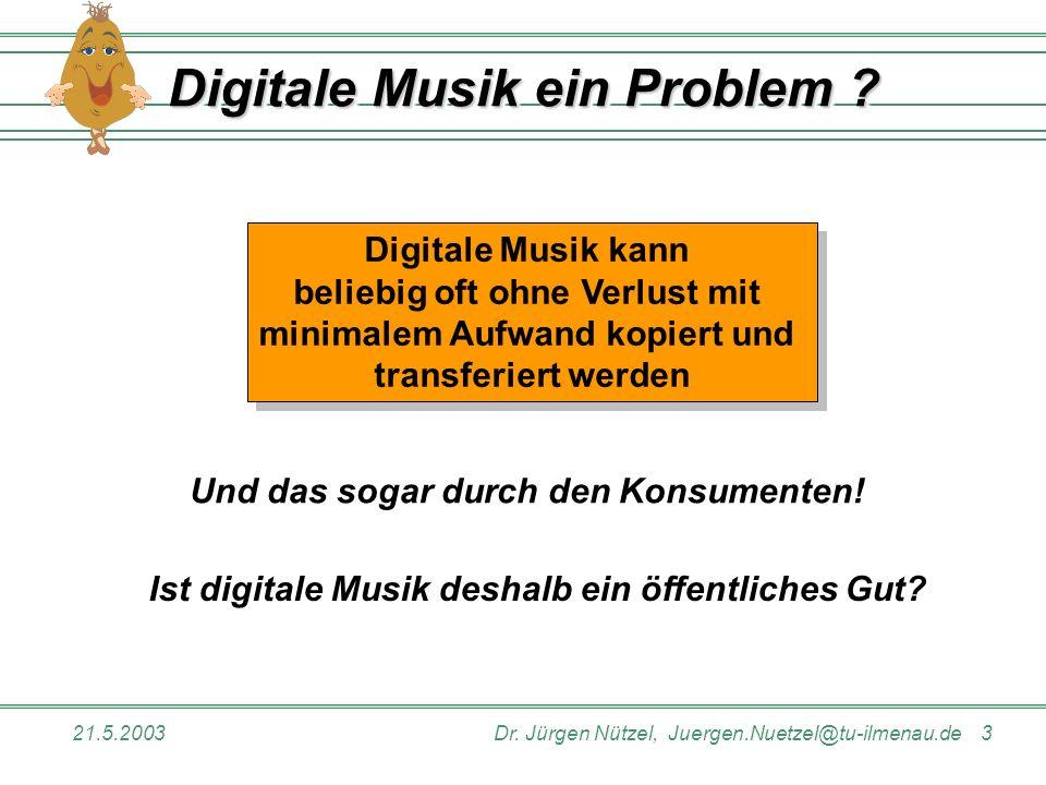 21.5.2003Dr. Jürgen Nützel, Juergen.Nuetzel@tu-ilmenau.de 3 Digitale Musik ein Problem ? Ist digitale Musik deshalb ein öffentliches Gut? Digitale Mus
