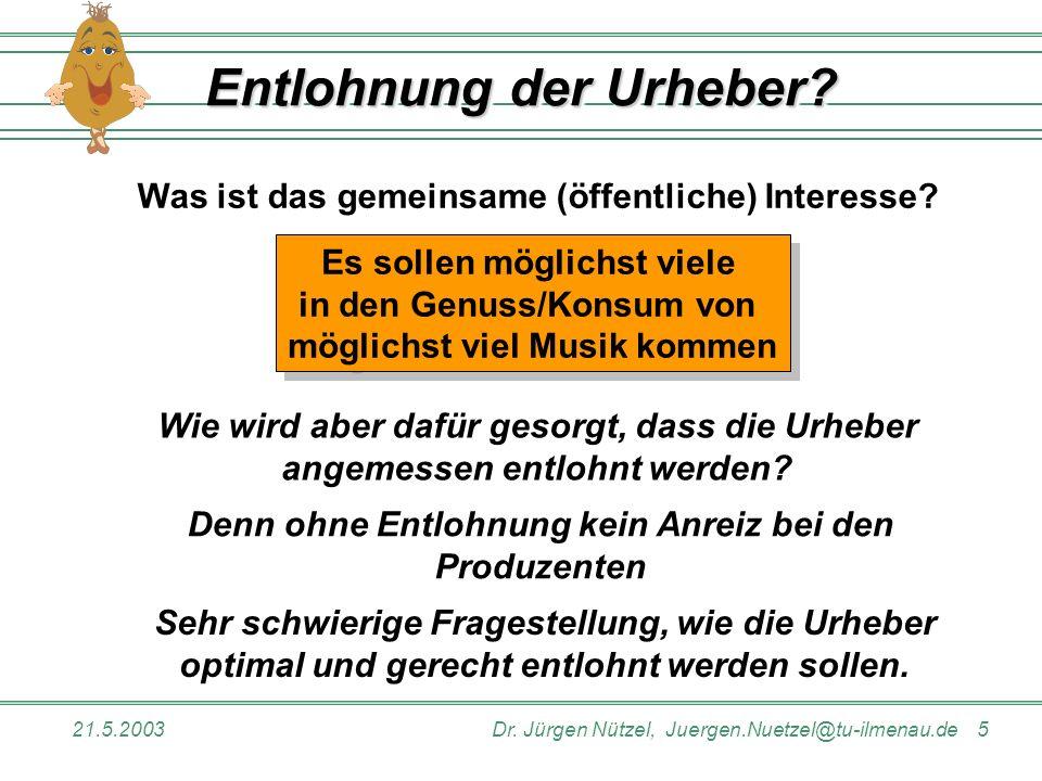 21.5.2003Dr. Jürgen Nützel, Juergen.Nuetzel@tu-ilmenau.de 5 Entlohnung der Urheber? Was ist das gemeinsame (öffentliche) Interesse? Es sollen möglichs