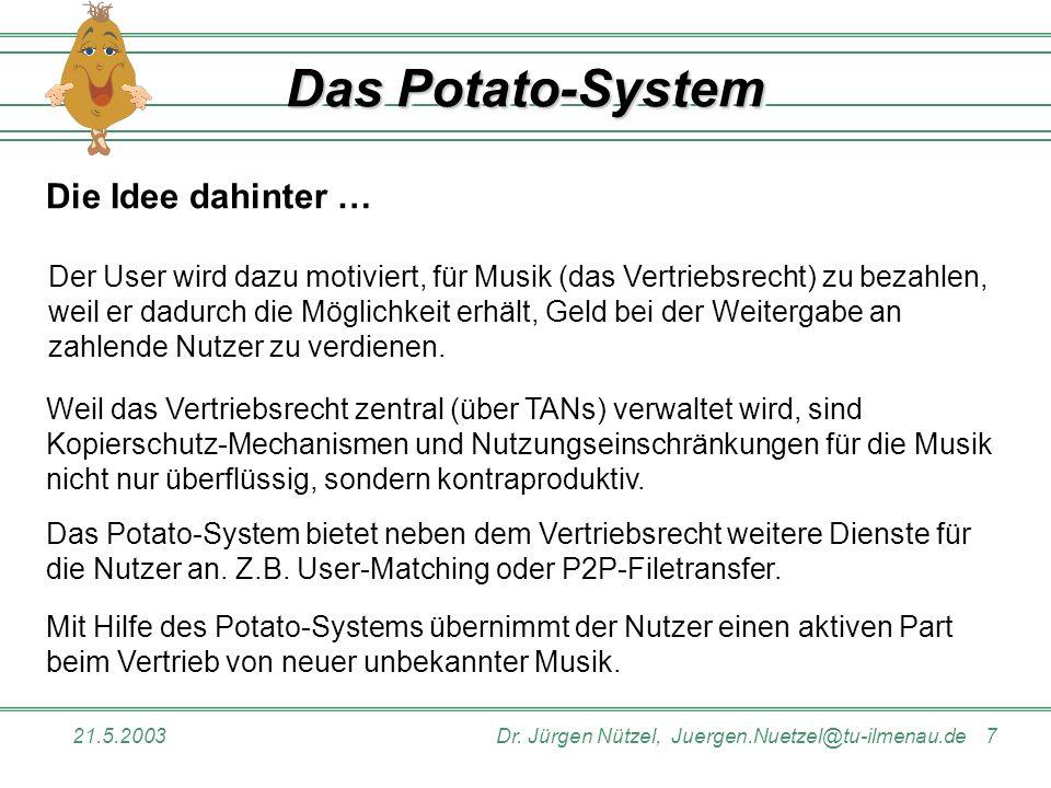 21.5.2003Dr. Jürgen Nützel, Juergen.Nuetzel@tu-ilmenau.de 7 Das Potato-System Die Idee dahinter … Das Potato-System bietet neben dem Vertriebsrecht we