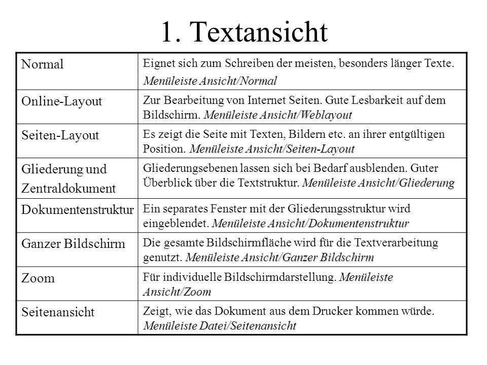 1. Textansicht Normal Eignet sich zum Schreiben der meisten, besonders länger Texte. Menüleiste Ansicht/Normal Online-Layout Menüleiste Ansicht/Weblay
