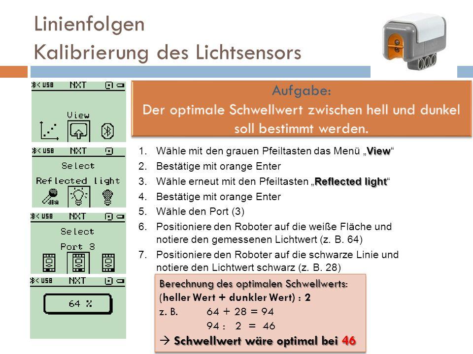 Linienfolgen Kalibrierung des Lichtsensors View 1.Wähle mit den grauen Pfeiltasten das Menü View 2.Bestätige mit orange Enter Reflected light 3.Wähle