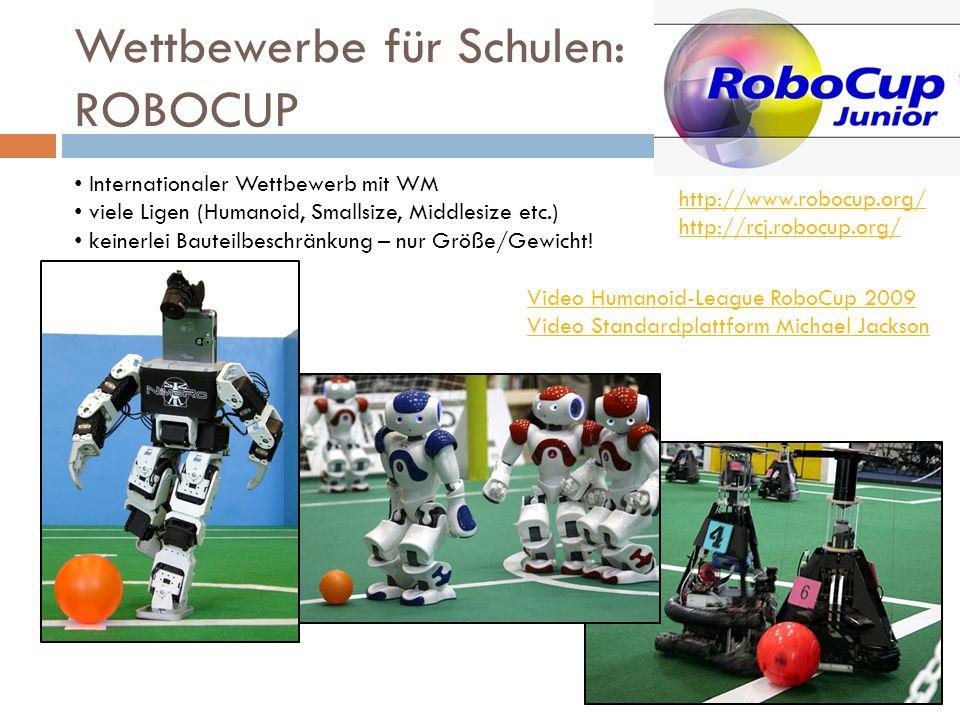 Wettbewerbe für Schulen: ROBOCUP Video Humanoid-League RoboCup 2009 Video Standardplattform Michael Jackson Internationaler Wettbewerb mit WM viele Li