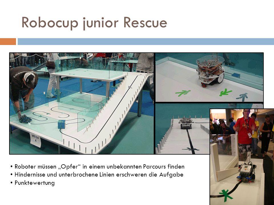 Robocup junior Rescue Roboter müssen Opfer in einem unbekannten Parcours finden Hindernisse und unterbrochene Linien erschweren die Aufgabe Punktewert