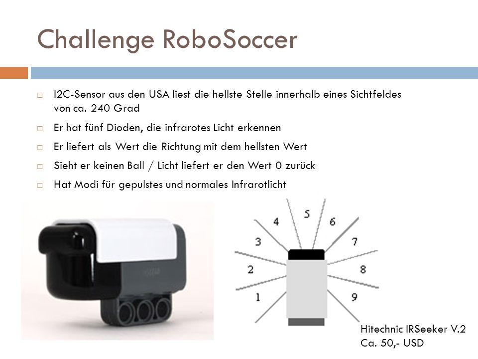 Challenge RoboSoccer I2C-Sensor aus den USA liest die hellste Stelle innerhalb eines Sichtfeldes von ca. 240 Grad Er hat fünf Dioden, die infrarotes L