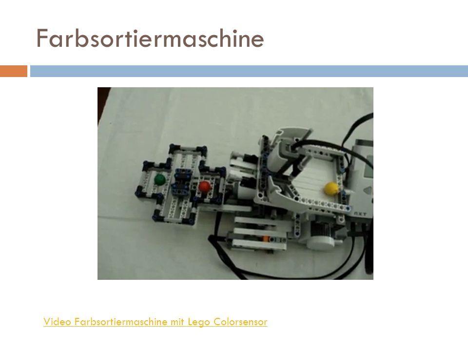 Farbsortiermaschine Video Farbsortiermaschine mit Lego Colorsensor