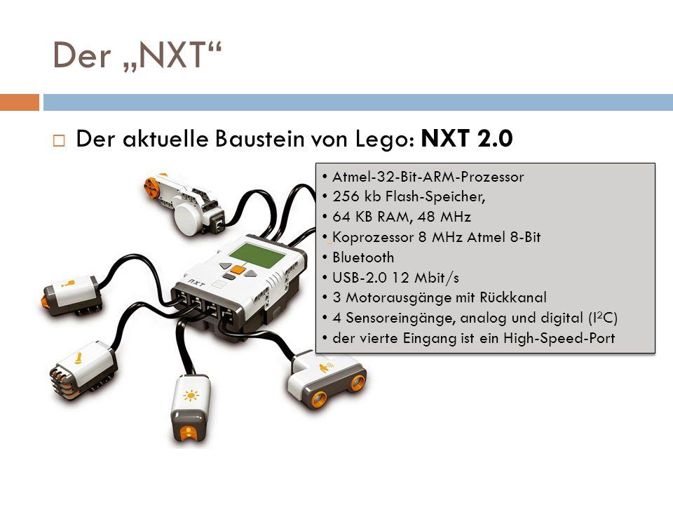 Der NXT Der aktuelle Baustein von Lego: NXT 2.0 Atmel-32-Bit-ARM-Prozessor 256 kb Flash-Speicher, 64 KB RAM, 48 MHz Koprozessor 8 MHz Atmel 8-Bit Blue