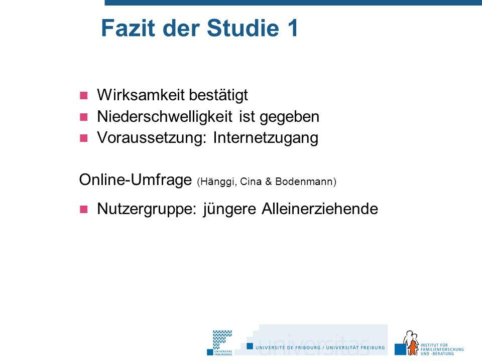 Fazit der Studie 1 Wirksamkeit bestätigt Niederschwelligkeit ist gegeben Voraussetzung: Internetzugang Online-Umfrage (Hänggi, Cina & Bodenmann) Nutzergruppe: jüngere Alleinerziehende