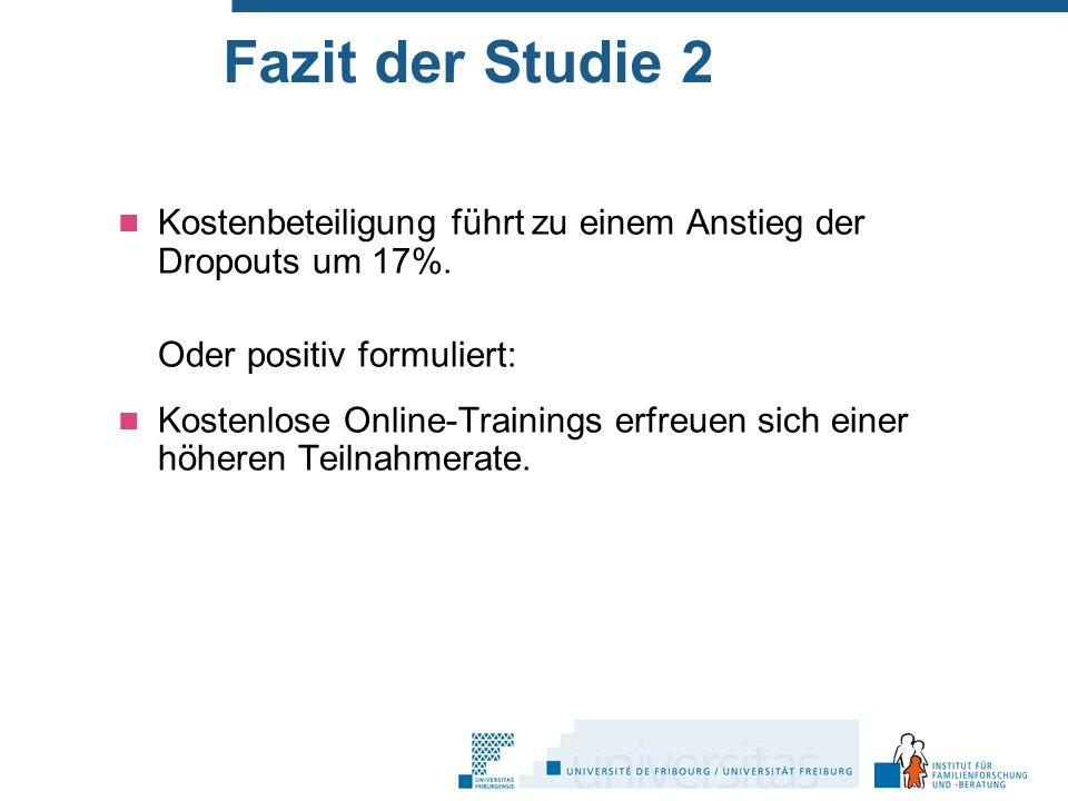 Fazit der Studie 2 Kostenbeteiligung führt zu einem Anstieg der Dropouts um 17%.
