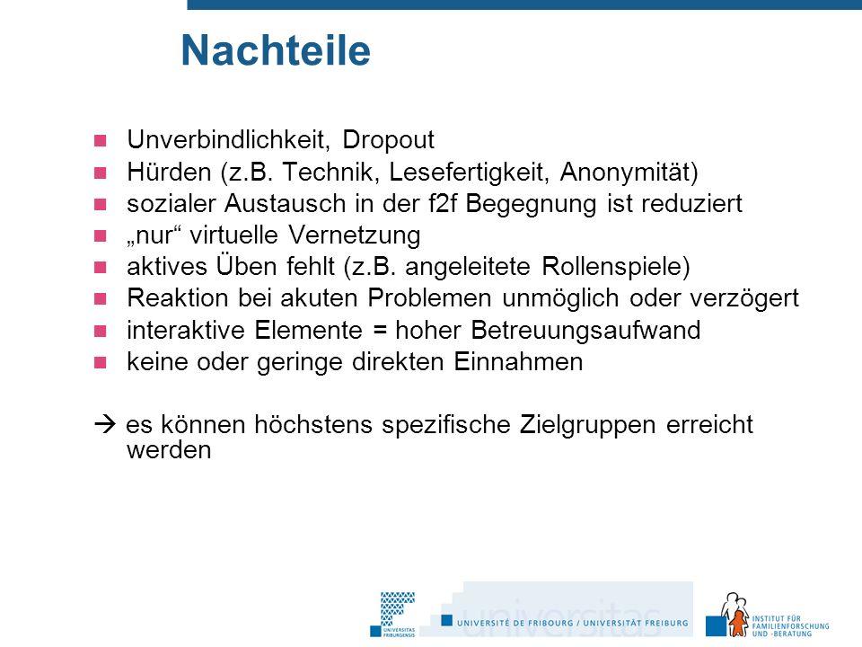 Nachteile Unverbindlichkeit, Dropout Hürden (z.B.