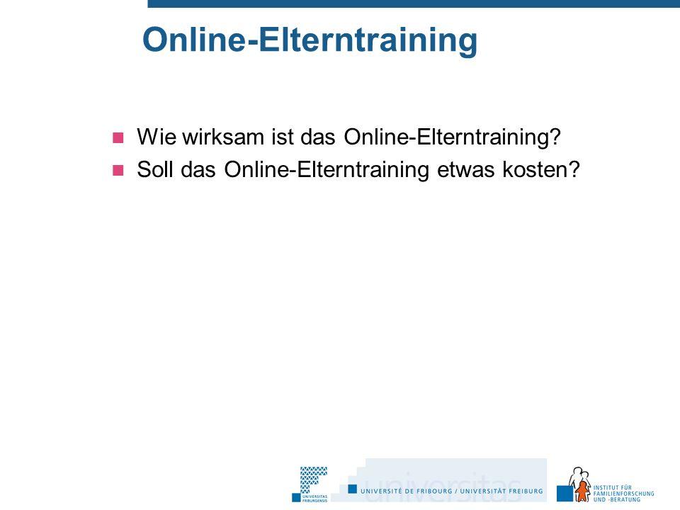 Online-Elterntraining Wie wirksam ist das Online-Elterntraining.