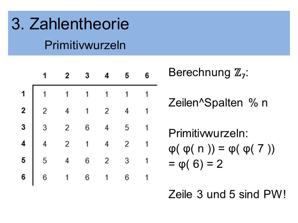 3. Zahlentheorie Primitivwurzeln Berechnung 7 : Zeilen^Spalten % n Primitivwurzeln: φ( φ( n )) = φ( φ( 7 )) = φ( 6) = 2 Zeile 3 und 5 sind PW!