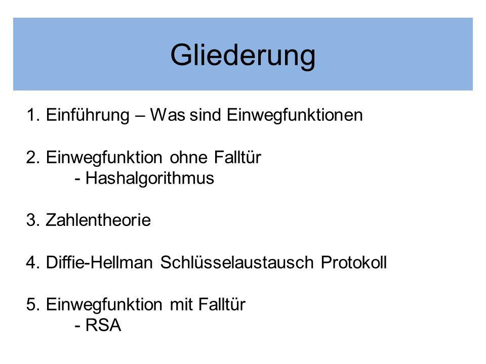 Gliederung 1. Einführung – Was sind Einwegfunktionen 2. Einwegfunktion ohne Falltür - Hashalgorithmus 3. Zahlentheorie 4. Diffie-Hellman Schlüsselaust