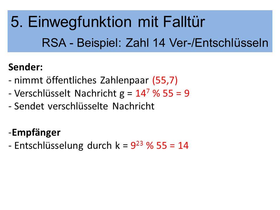 5. Einwegfunktion mit Falltür RSA - Beispiel: Zahl 14 Ver-/Entschlüsseln Sender: - nimmt öffentliches Zahlenpaar (55,7) - Verschlüsselt Nachricht g =