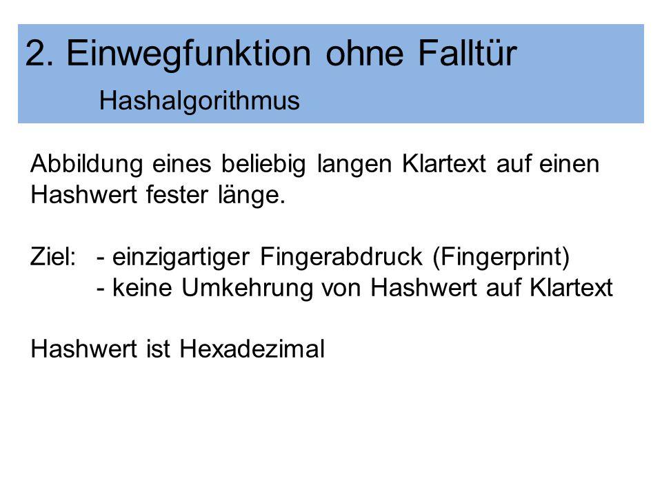 2. Einwegfunktion ohne Falltür Hashalgorithmus Abbildung eines beliebig langen Klartext auf einen Hashwert fester länge. Ziel: - einzigartiger Fingera