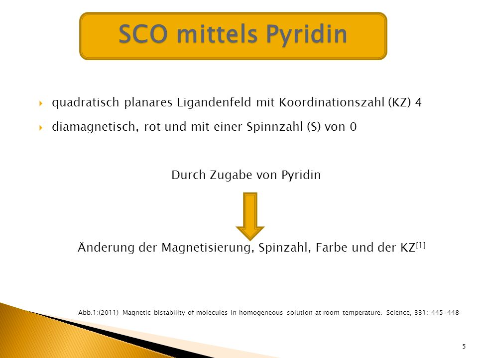 Problem: Anlagerung von 1-2 axialen Liganden Idee: Einsatz von photodissociable ligands (PDLs) 6 Farbänderung: rot gelb-ocker Magnetisierung: diamagnetisch paramagnetisch SCO mittels Pyridin