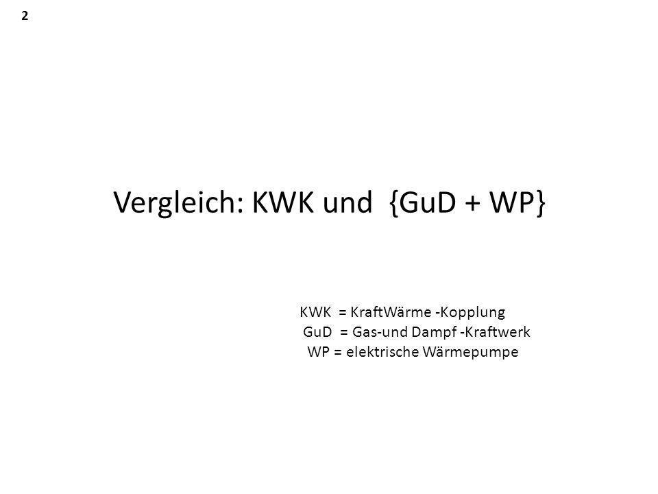 Vergleich: KWK und {GuD + WP} KWK = KraftWärme -Kopplung GuD = Gas-und Dampf -Kraftwerk WP = elektrische Wärmepumpe 2