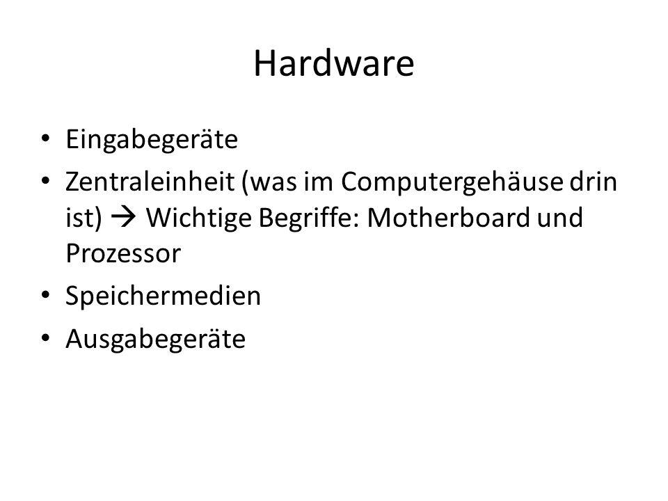 Hardware Eingabegeräte Zentraleinheit (was im Computergehäuse drin ist) Wichtige Begriffe: Motherboard und Prozessor Speichermedien Ausgabegeräte