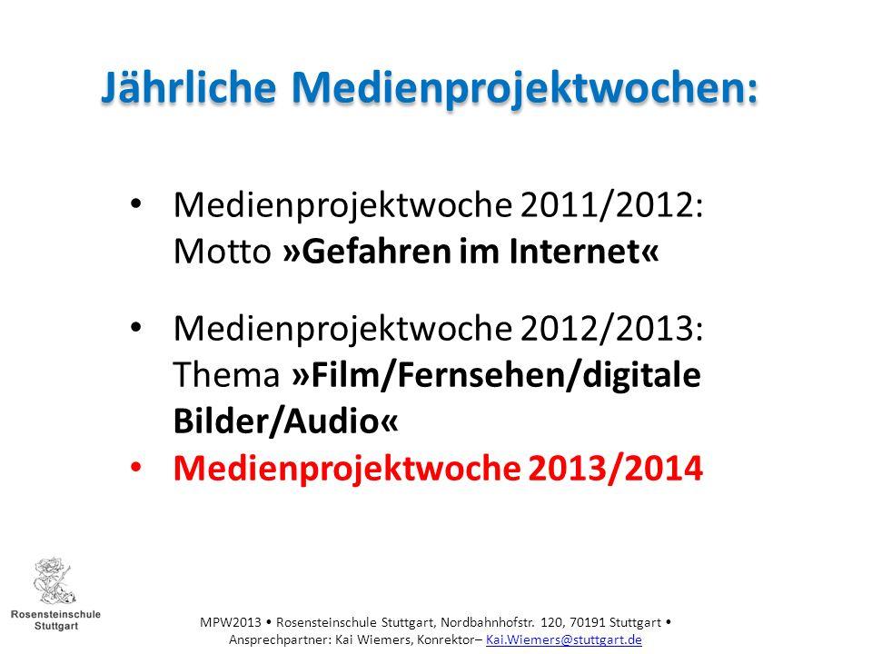 Jährliche Medienprojektwochen: Rahmenbedingungen: Datum: vom 18.11.13 – 22.11.13 Von Klasse 3 – 10 Neu: Einbezug des Kollegiums: SchilF zum Thema Sesam Manager