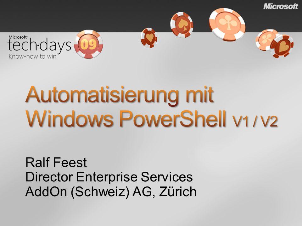 PowerShell-Anfänger abholen & begeistern PowerShell-Nutzern Tipps & Tricks sowie einen Ausblick auf die V 2.0 zeigen Den richtigen Mix aus Theorie & LiveDemo präsentieren