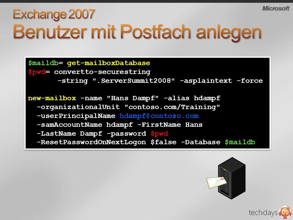 $maildb= get-mailboxDatabase $pwd= convertto-securestring -string