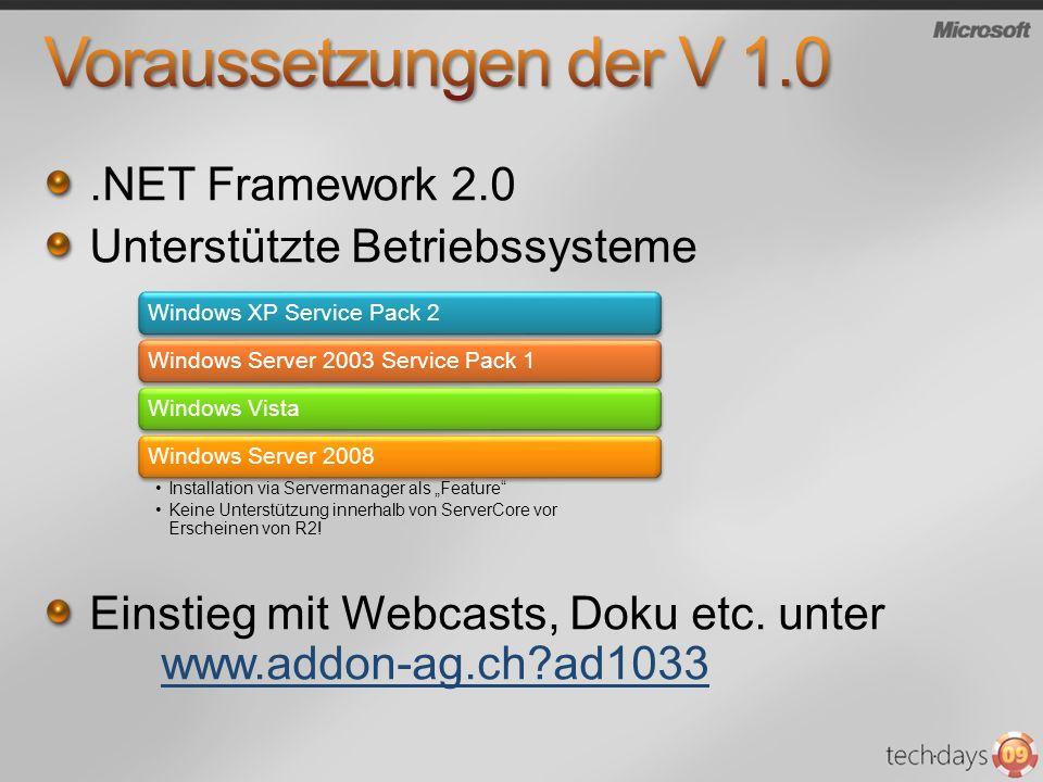 .NET Framework 2.0 Unterstützte Betriebssysteme Einstieg mit Webcasts, Doku etc. unter www.addon-ag.ch?ad1033www.addon-ag.ch?ad1033 Windows XP Service