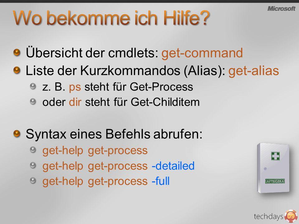 Übersicht der cmdlets: get-command Liste der Kurzkommandos (Alias): get-alias z. B. ps steht für Get-Process oder dir steht für Get-Childitem Syntax e