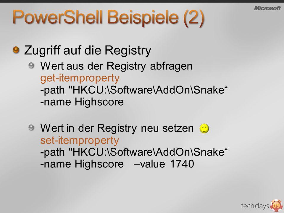 Remote Admin via WMI Beispiel: $PCs= $( BBN25 , BBS12 , BBS5 ) Get-WmiObject Win32_OperatingSystem -computer $PCs SystemDirectory : C:\Windows\system32 Organization : BuildNumber : 6001 RegisteredUser : Ralf SerialNumber : 89587-014-3171252-71989 Version : 6.0.6001 SystemDirectory : C:\WINDOWS\system32 Organization : AddOn BuildNumber : 3790 RegisteredUser : AddOn SerialNumber : 69713-286-0895857-44217 Version : 5.2.3790 SystemDirectory : C:\WINDOWS\system32 Organization : addon BuildNumber : 3790 RegisteredUser : ctec SerialNumber : 69713-640-1693711-45097 Version : 5.2.3790 SystemDirectory : C:\Windows\system32 Organization : BuildNumber : 6001 RegisteredUser : Ralf SerialNumber : 89587-014-3171252-71989 Version : 6.0.6001 SystemDirectory : C:\WINDOWS\system32 Organization : AddOn BuildNumber : 3790 RegisteredUser : AddOn SerialNumber : 69713-286-0895857-44217 Version : 5.2.3790 SystemDirectory : C:\WINDOWS\system32 Organization : addon BuildNumber : 3790 RegisteredUser : ctec SerialNumber : 69713-640-1693711-45097 Version : 5.2.3790