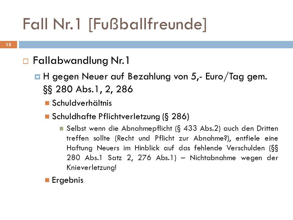 Fall Nr.1 [Fußballfreunde] 15 Fallabwandlung Nr.1 H gegen Neuer auf Bezahlung von 5,- Euro/Tag gem. §§ 280 Abs.1, 2, 286 Schuldverhältnis Schuldhafte