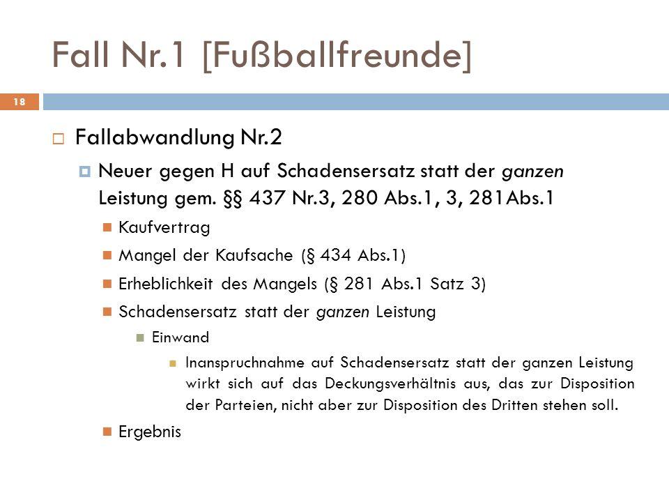 Fall Nr.1 [Fußballfreunde] 18 Fallabwandlung Nr.2 Neuer gegen H auf Schadensersatz statt der ganzen Leistung gem. §§ 437 Nr.3, 280 Abs.1, 3, 281Abs.1