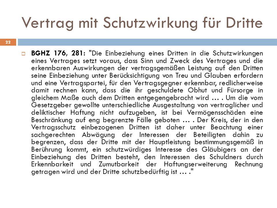 Vertrag mit Schutzwirkung für Dritte 22 BGHZ 176, 281: