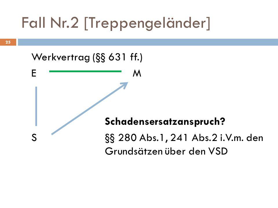 Fall Nr.2 [Treppengeländer] 25 Werkvertrag (§§ 631 ff.) EM Schadensersatzanspruch? S§§ 280 Abs.1, 241 Abs.2 i.V.m. den Grundsätzen über den VSD