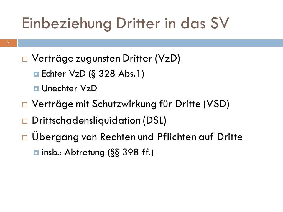 Einbeziehung Dritter in das SV 3 Verträge zugunsten Dritter (VzD) Echter VzD (§ 328 Abs.1) Unechter VzD Verträge mit Schutzwirkung für Dritte (VSD) Dr