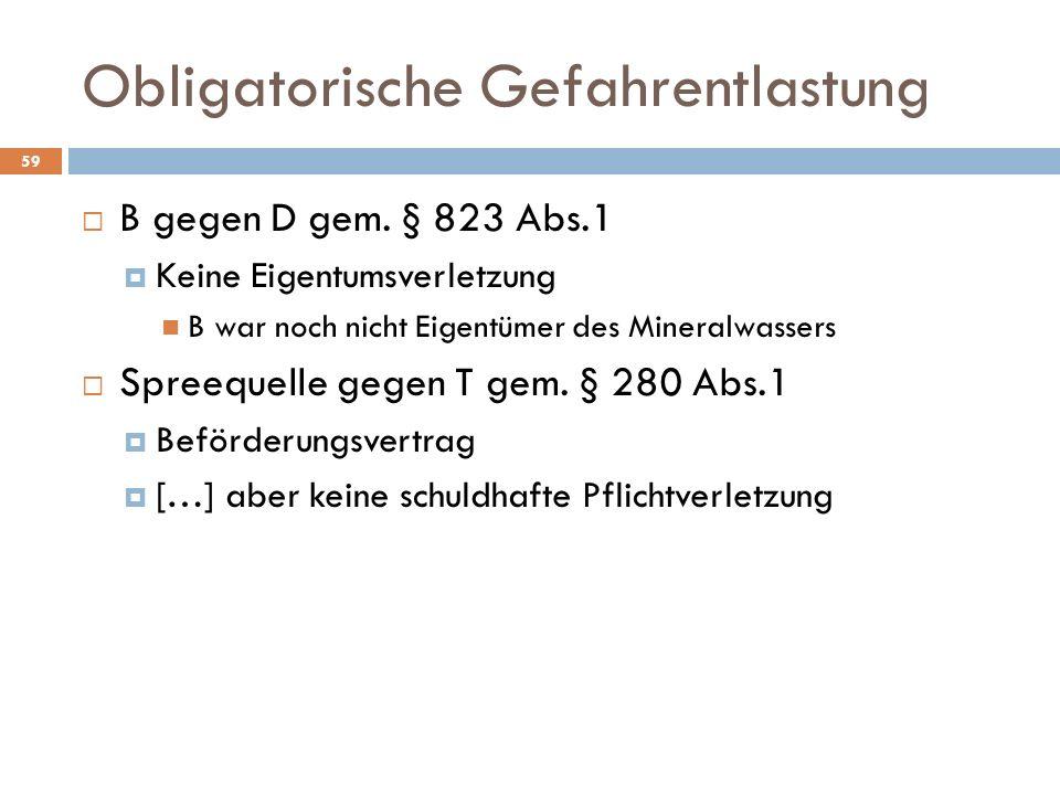 Obligatorische Gefahrentlastung 59 B gegen D gem. § 823 Abs.1 Keine Eigentumsverletzung B war noch nicht Eigentümer des Mineralwassers Spreequelle geg