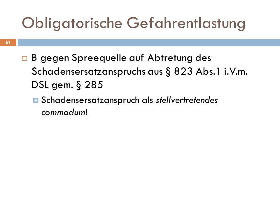 Obligatorische Gefahrentlastung 61 B gegen Spreequelle auf Abtretung des Schadensersatzanspruchs aus § 823 Abs.1 i.V.m. DSL gem. § 285 Schadensersatza