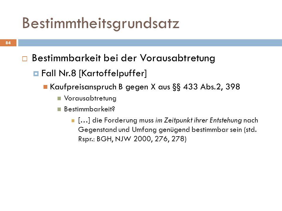Bestimmtheitsgrundsatz 84 Bestimmbarkeit bei der Vorausabtretung Fall Nr.8 [Kartoffelpuffer] Kaufpreisanspruch B gegen X aus §§ 433 Abs.2, 398 Vorausa